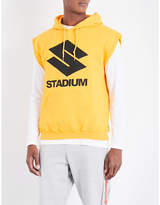 Justin Bieber Mens Yellow Striped Nonchalant Purpose The Stadium Tour Cotton-Blend Hoody