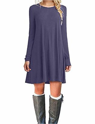AUSELILY Women's Casual Plain Simple Long Sleeve T-Shirt Loose DressPurple Gray 26
