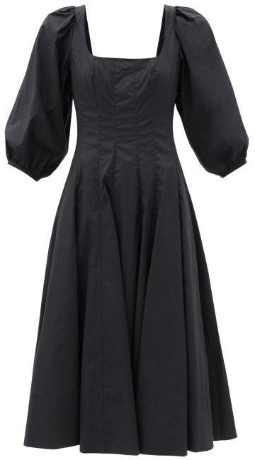STAUD Swells Square-neck Cotton-blend Dress - Black