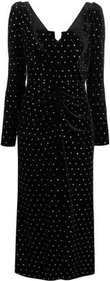 Self-Portrait Stud-Embellished Ruched Dress
