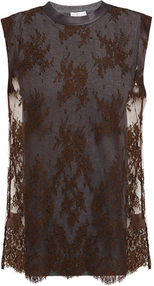 Brunello Cucinelli Layered Lace And Stretch-cotton Jersey Top