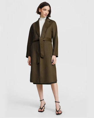 ARIS - Women's Green Coats - Double Face Belted Coat - Size One Size, XS at The Iconic