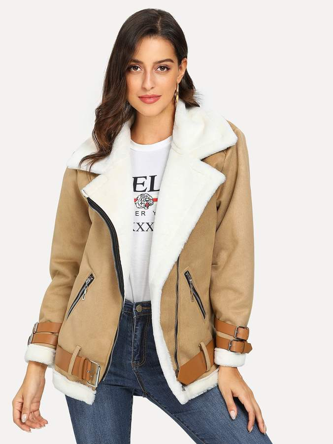 Belted Cuff and Hem Faux Shearling Jacket