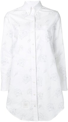 Thom Browne Floral Carnation Oxford shirtdress