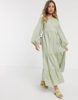 Asos DESIGN cotton poplin tiered maxi dress with long sleeves in khaki