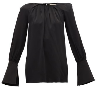KHAITE Kirsty Wide-cuff Cutout Satin Blouse - Black