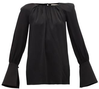 KHAITE Kirsty Wide-cuff Cutout Satin Blouse - Womens - Black