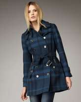Burberry Brit Double-Breasted Check Coat