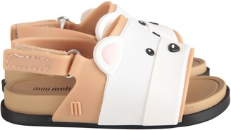 Melissa Beige And White Kids Sandals With Bear