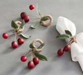 Pottery Barn Cherry Napkin Ring, Set of 4