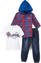 Rocawear Red & Blue Plaid Brooklyn Hooded Button-Up Set - Toddler & Boys