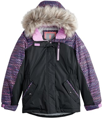 Free Country Girls 7-16 Radiance Boarder Jacket With Faux Fur Trim Hood