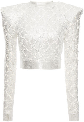 Balmain Cropped Coated Pointelle-knit Top