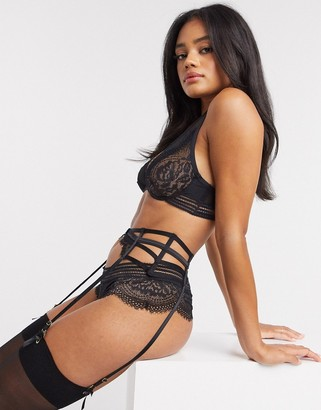Hunkemoller Eve cut out lace suspender belt in black