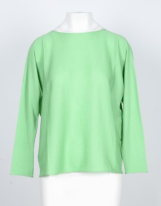 Lamberto Losani Acid Green Cashmere and Silk Women's Sweater