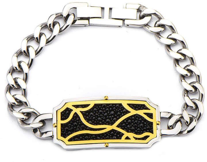 JCPenney FINE JEWELRY Inox Jewelry Mens Black Stingray Leather Frame Two-Tone Curb Link Bracelet