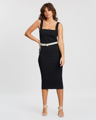 Missguided Square Neck Rib Midaxi Dress