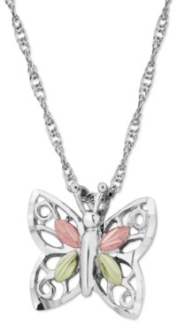 Black Hills Gold Butterfly Pendant in Sterling Silver with 12k Rose and Green Gold