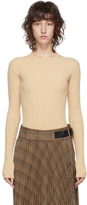 Helmut Lang Beige Ribbed Crewneck Sweater
