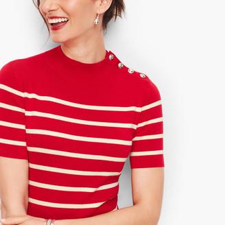 Talbots Mockneck Button Shoulder Sweater - Stripe