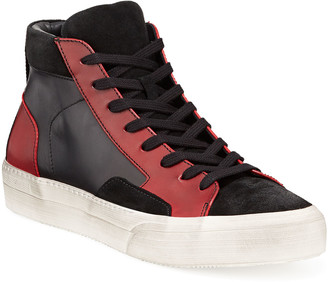 John Varvatos Men's 315 Mac Leather/Suede High-Top Skate Sneakers
