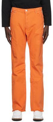 we11done Orange Embossed Semi-Boot Cut Trouser