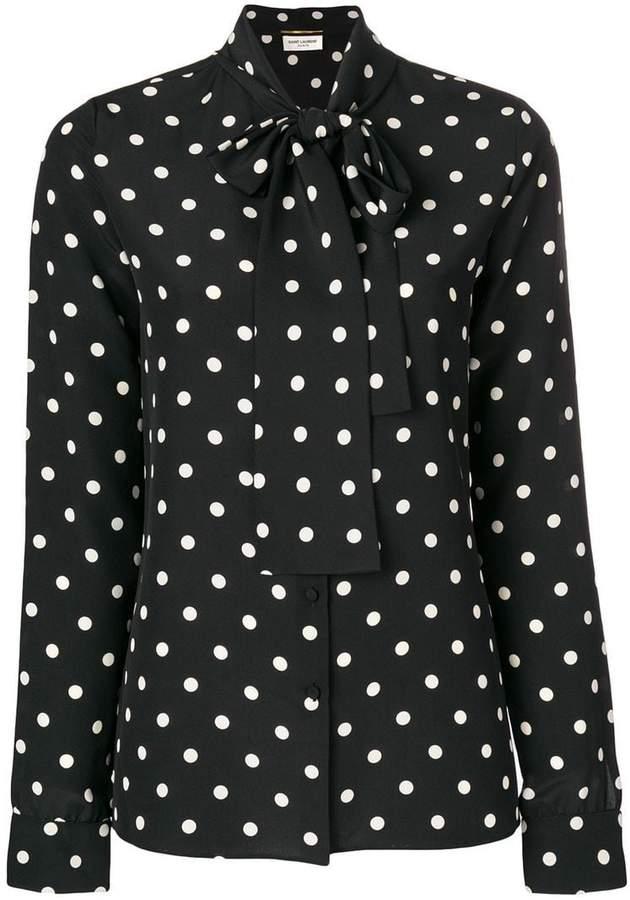 Saint Laurent polka dot pussy bow blouse