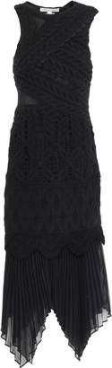 Jonathan Simkhai Paneled Crocheted Cotton And Georgette Midi Dress