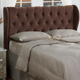 Three Posts Yorkshire Upholstered Wingback Headboard Size: Full / Queen, Color: Chocolate