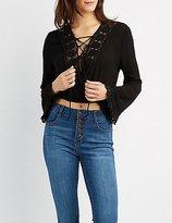 Charlotte Russe Crochet-Trim Lace-Up Crop Top
