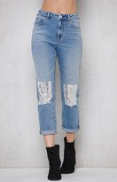 PacSun Donna Blue Sequined Patch & Repair Mom Jeans