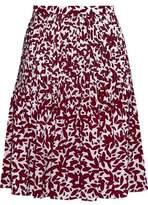 Oscar de la Renta Pintucked Printed Silk Crepe De Chine Skirt