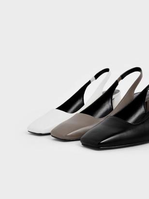 Charles & Keith Square Toe Slingback Heels