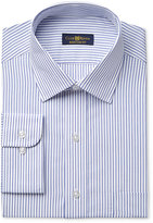 Club Room Estate Men's Classic-Fit Wrinkle Resistant Blue End on End Bar Stripe Dress Shirt, Only at Macy's