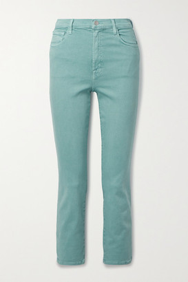 J Brand Alma Cropped High-rise Straight-leg Jeans - Gray green