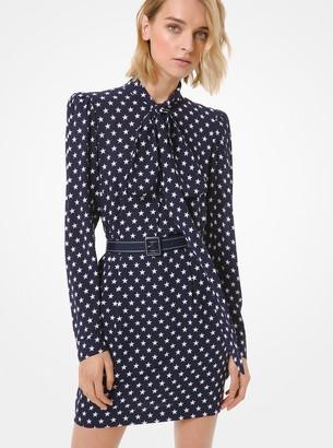 Michael Kors Star Silk Georgette Tie-Neck Dress