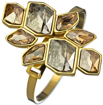 Diana Warner Gold with Golden and Silver Shadow Swarovski Crystals Karina Bangle Bracelet