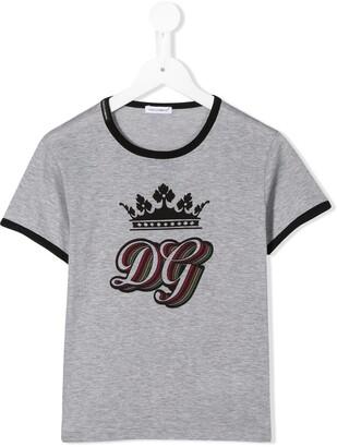 Dolce & Gabbana Kids DG Crown-print cotton T-shirt