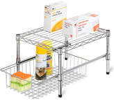 Honey-Can-Do Adjustable Shelf With Basket Cabinet Organizer