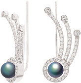 Crislu Silver & Platinum 6Mm Pearl & Cz Ear Crawler