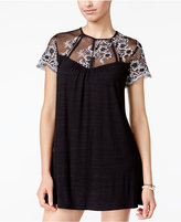 Trixxi Juniors' Embroidered-Mesh Shift Dress