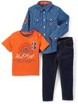 U.S. Polo Assn. Orange Button-Up, Top and Jeans Set - Infant, Toddler & Boys