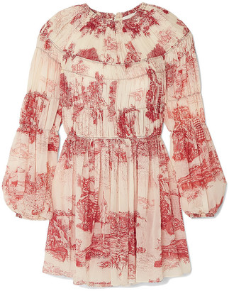 Chloé Pleated Printed Silk-chiffon Mini Dress