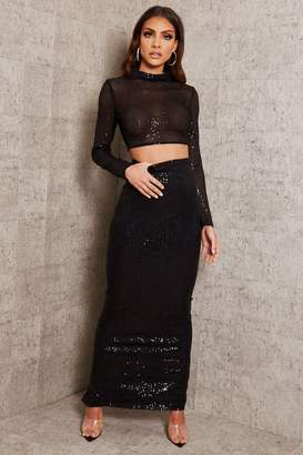 I SAW IT FIRST Black Sequin Maxi Skirt