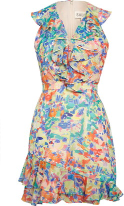 Saloni Cece Floral Print Ruffle Trim Dress