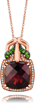 LeVian Le Vian 14K Strawberry Gold 8.21 Ct. Tw. Diamond & Tsavorite Garnet Pendant Necklace