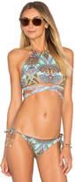 L-Space Lizzie Wrap Bikini Top in Blue