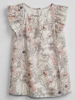 Gap Floral Cascade-Ruffle Dress