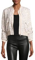Needle & Thread Prairie Embroidered Bomber Jacket, Pink