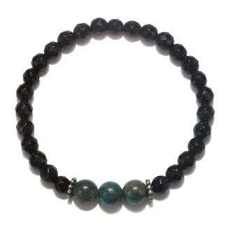 Satya Jewelry Women's Goldstone and Apatite Silver Stretch Bracelet